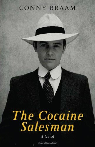 Cover for The Cocaine Salesman, by Conny Braam, featuring a man wearing a suit and hat