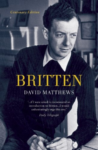 Cover for Britten, by David Matthews, featuring a black-and-white photo of Benjamin Britten