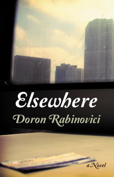 Cover for Elsewhere, by Doron Rabinovici, featuring a moody city skyline.