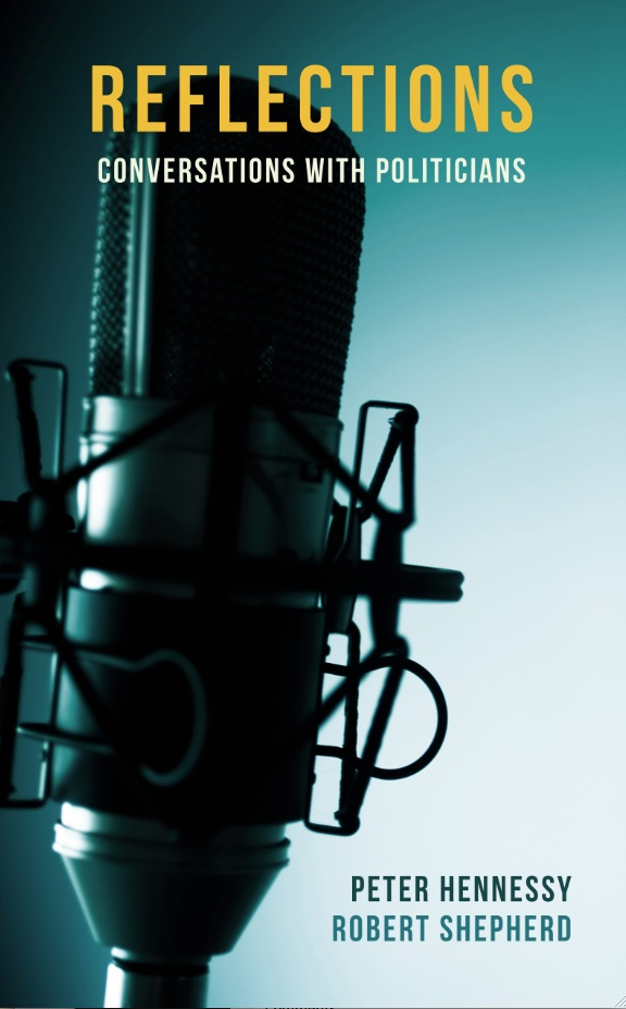 Cover image for Reflections: Conversations with Politicians, by Peter Hennessy, featuring a broadcast studio microphone